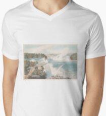 Vintage Illustration of Niagara Falls (1845) Men's V-Neck T-Shirt