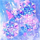 Flower of Life Pattern Painting Blue by Cveta