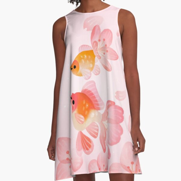Cherry blossom goldfish 1 A-Line Dress