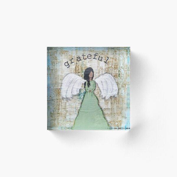 Grateful Angel Mixed Media Acrylic Block