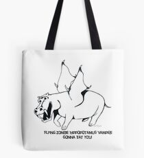 Flying Zombie Hippopotamus Vampire Tote Bag