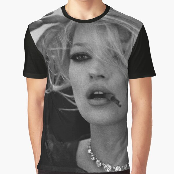 Kate Moss Black and White Photography Graphic T-Shirt