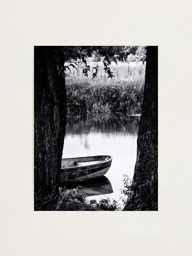 Alternate view of boat bw Photographic Print