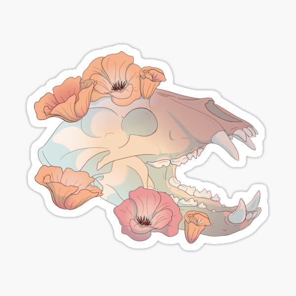 Black Bear and California Poppies Sticker