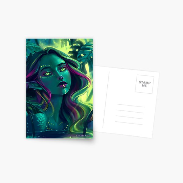 Monstera Mermaid Postcard