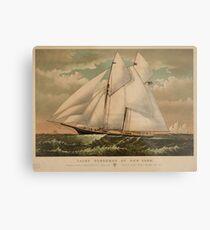 Vintage Schooner Yacht Illustration (1882) Metal Print