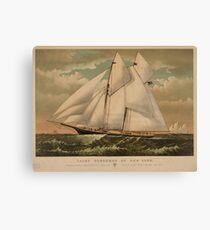 Vintage Schooner Yacht Illustration (1882) Canvas Print