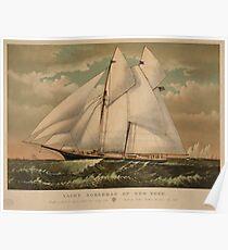 Vintage Schooner Yacht Illustration (1882) Poster