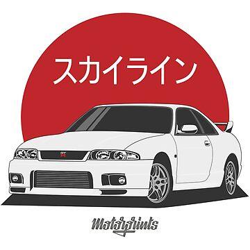 GT-R R33 (white) by MotorPrints