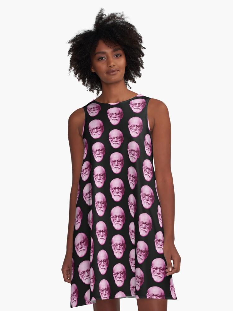 Sigmund Freud Head A-Line Dress Front