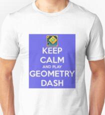 Bleib ruhig und spiel Geometrie-Dash Slim Fit T-Shirt