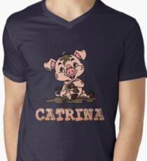 Catrina Piggy Men's V-Neck T-Shirt