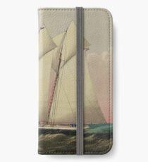 Vintage Schooner Yacht Illustration (1870) iPhone Wallet/Case/Skin
