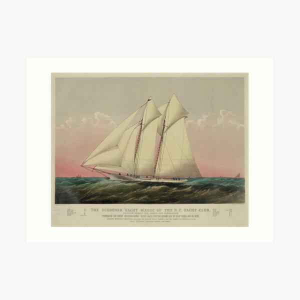 Vintage Schooner Yacht Illustration (1870) Art Print