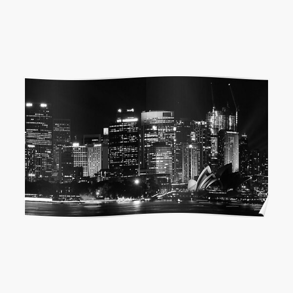 Sydney City Skyline B&W Poster