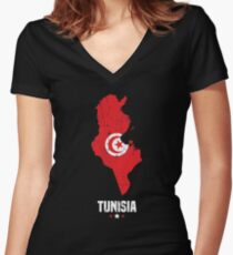 Tunisia Flag Apparel Women's Fitted V-Neck T-Shirt