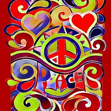 Hippy Retro Peace Art by Alondra