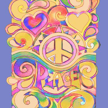 Pastel Hippy Trippy Peace Art by Alondra
