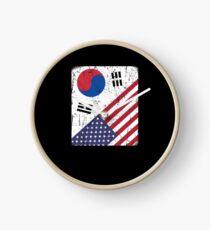South Korea Flag Korean American Apparel Clock