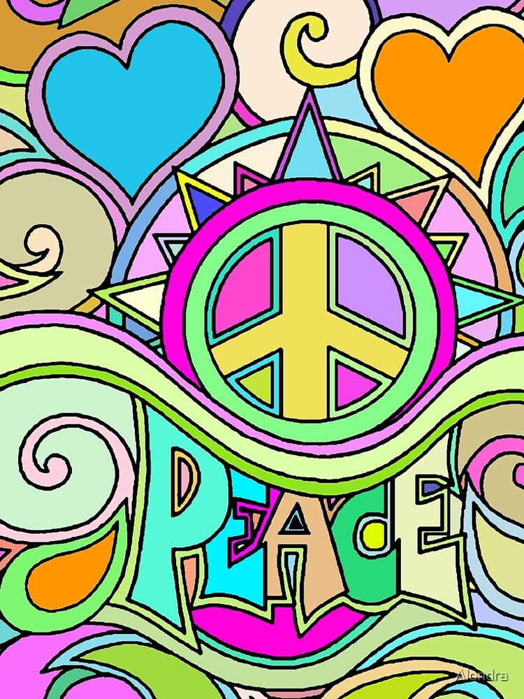 Psychedelic Hippy Retro Peace Art by Alondra