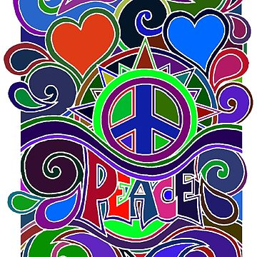 Colorful Hippy Peace Sign by Alondra
