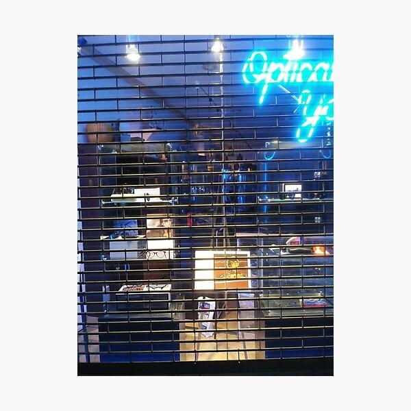 Building, skyscraper, symmetry, night lights, sky, evening, city view Photographic Print