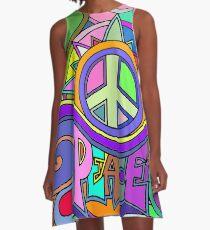 Bunte Trippy Hippie-Kunst A-Linien Kleid