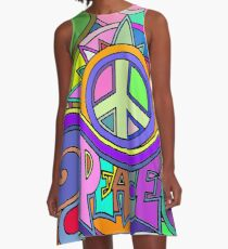 Colorful Trippy Hippy Art A-Line Dress
