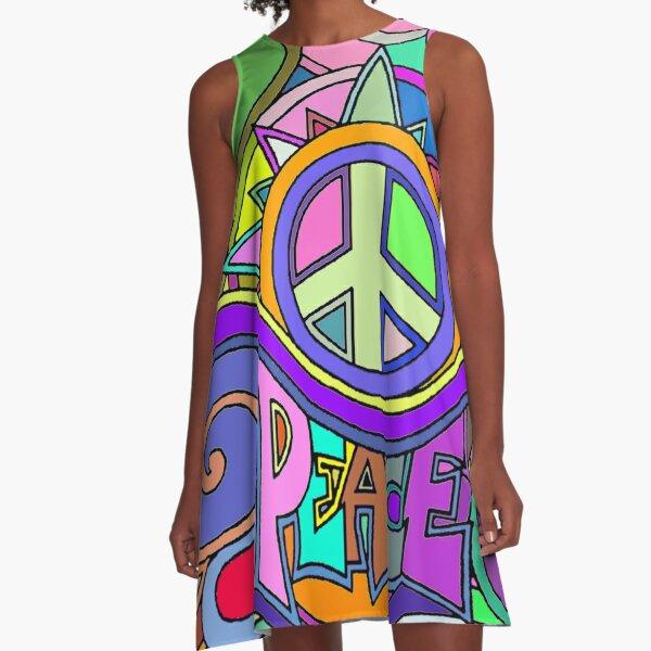Colorful Trippy Hippy Art A-Line Dress