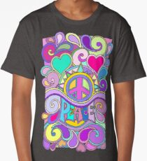 Psychedelic Hippy Retro Peace Art Long T-Shirt