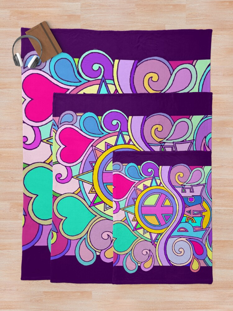 Alternate view of Psychedelic Hippy Retro Peace Art Throw Blanket