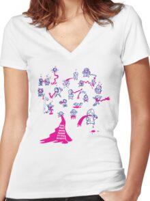 24 Seven Forever Friday Heaven Women's Fitted V-Neck T-Shirt