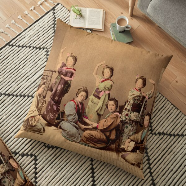 Geisha dancing party Floor Pillow