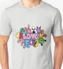 Doodle love - Colors /Black Background Unisex T-Shirt