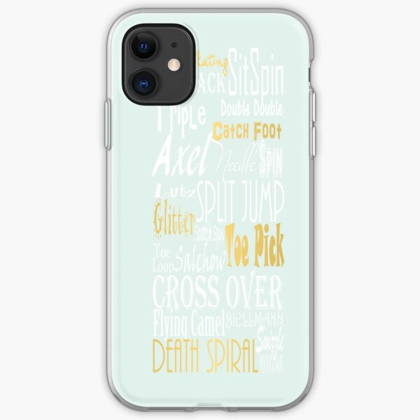 Pastel Blue with Gold Accents Figure Skating Subway Style Typographic Design iPhone Soft Case