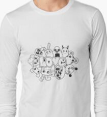Doodle Love /Black and White Long Sleeve T-Shirt