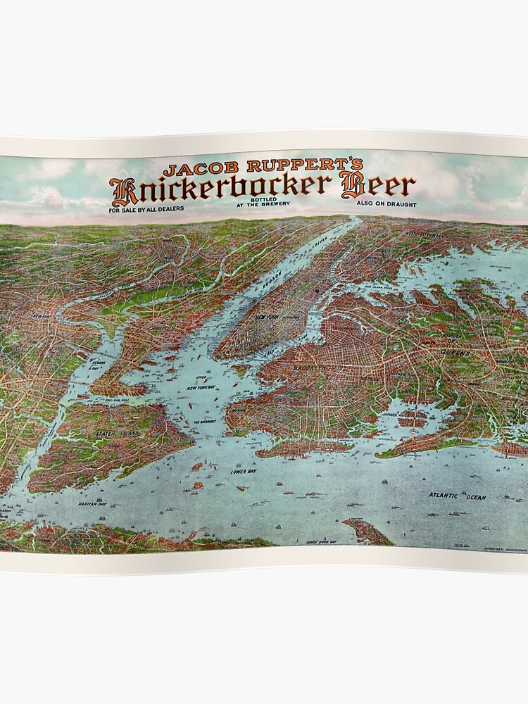 Map Of New York For Sale.Vintage Jacob Ruppert S Knickerbocker Beer Advertisement Map Of New York City 1912 Poster