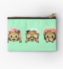 Monkey See No Evil Hipster Flower Crown Emoji Studio Pouch
