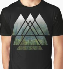 Sacred Geometry Triangles - Misty Forest Graphic T-Shirt