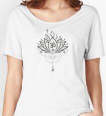 Lotus Blume, Yoga, black version Loose Fit T-Shirt