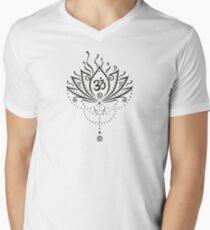Lotus Blume, Yoga, black version T-Shirt mit V-Ausschnitt für Männer