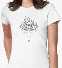 Lotus flower, Yoga, black version Women's Fitted T-Shirt