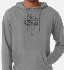 Lotus Blume, Yoga, black version Leichter Hoodie