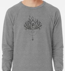 Lotus Blume, Yoga, black version Leichter Pullover