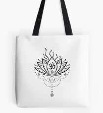 Lotus Blume, Yoga, black version Tote Bag