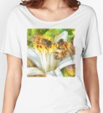 Bees and Flowering Plants Watercolor Women's Relaxed Fit T-Shirt