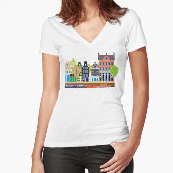 sticker, Amsterdam Grachtenhuizen,holland,nederland,netherlands,canal,grachtenhuizen,grachtenhuis,canal houses Fitted V-Neck T-Shirt