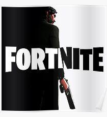 Fortnite black and white Poster