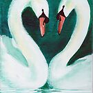 Swans Flirt by Dominique Gwerder