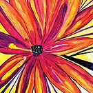 Original Artwork Red, Orange, Yellow Flower by CrazyCraftLady